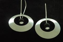 13015 Full moon -earrings with 8mm onyx